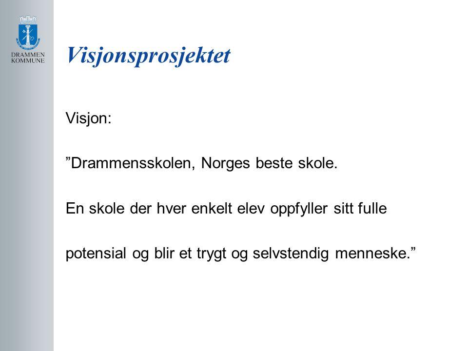 """Visjonsprosjektet Visjon: """"Drammensskolen, Norges beste skole. En skole der hver enkelt elev oppfyller sitt fulle potensial og blir et trygt og selvst"""