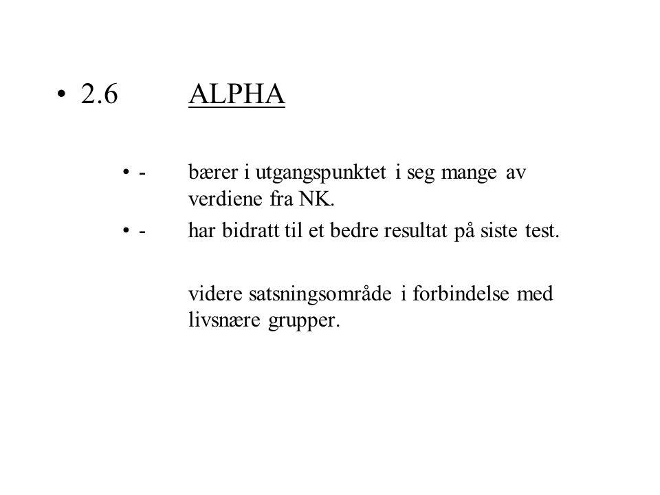 2.6ALPHA -bærer i utgangspunktet i seg mange av verdiene fra NK. -har bidratt til et bedre resultat på siste test. videre satsningsområde i forbindels