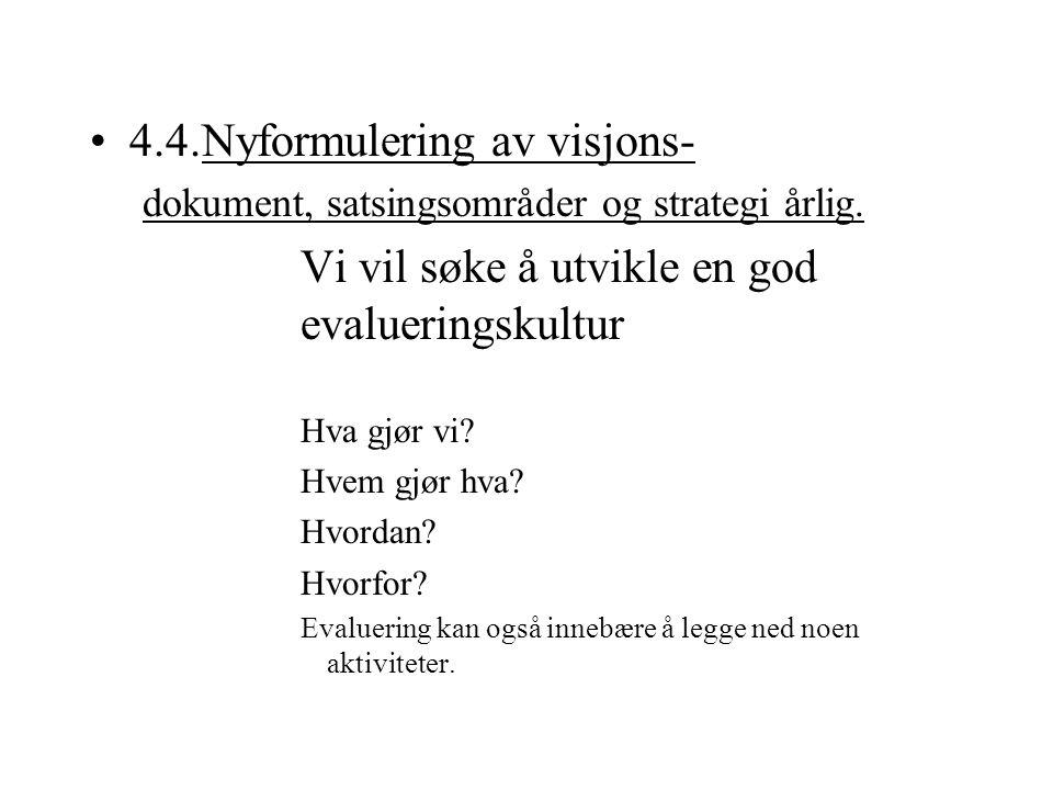 4.4.Nyformulering av visjons- dokument, satsingsområder og strategi årlig. Vi vil søke å utvikle en god evalueringskultur Hva gjør vi? Hvem gjør hva?