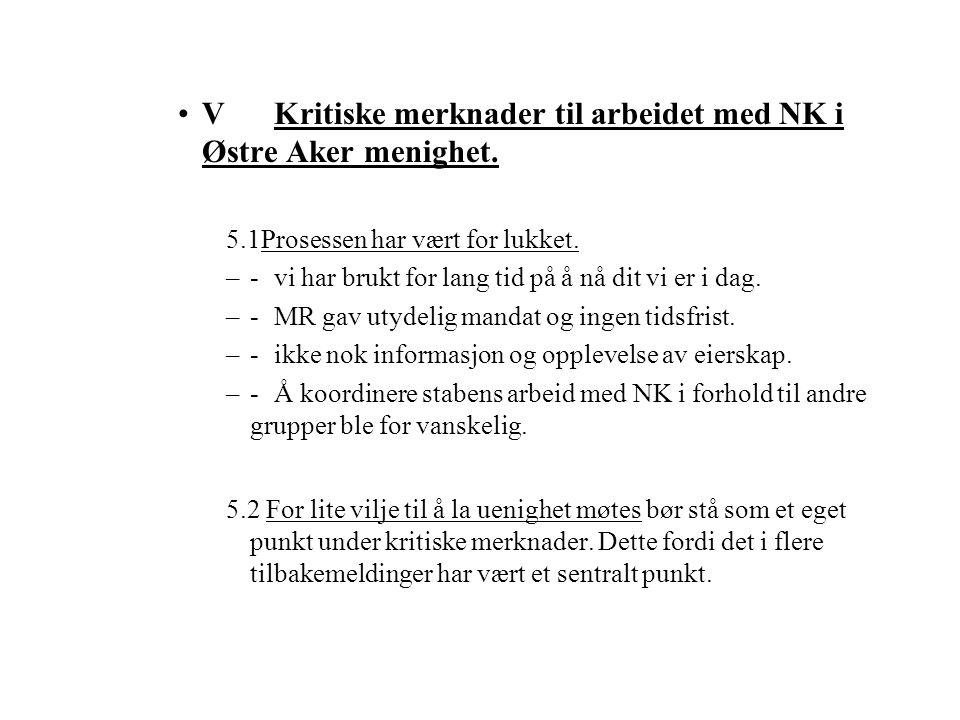 VKritiske merknader til arbeidet med NK i Østre Aker menighet. 5.1Prosessen har vært for lukket. –-vi har brukt for lang tid på å nå dit vi er i dag.
