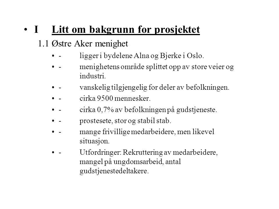 I Litt om bakgrunn for prosjektet 1.1 Østre Aker menighet -ligger i bydelene Alna og Bjerke i Oslo. -menighetens område splittet opp av store veier og