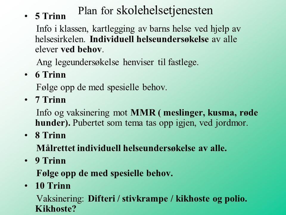 Plan for skolehelsetjenesten 5 Trinn Info i klassen, kartlegging av barns helse ved hjelp av helsesirkelen. Individuell helseundersøkelse av alle elev