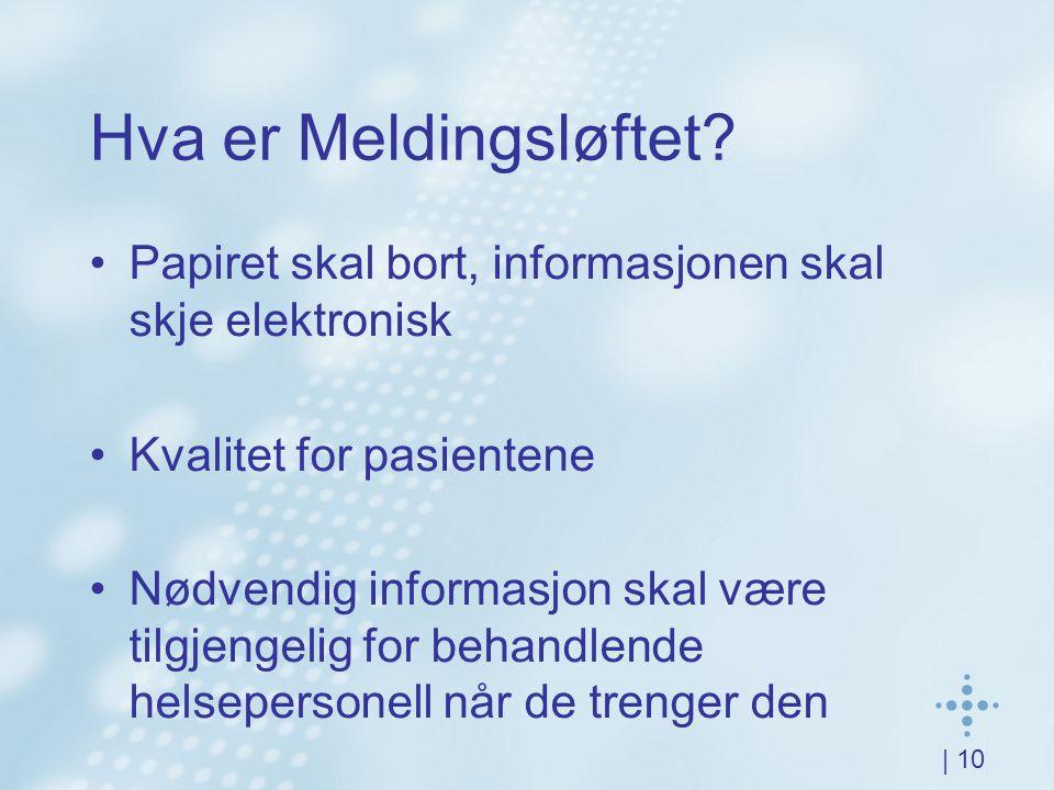 | 10 Hva er Meldingsløftet? Papiret skal bort, informasjonen skal skje elektronisk Kvalitet for pasientene Nødvendig informasjon skal være tilgjengeli