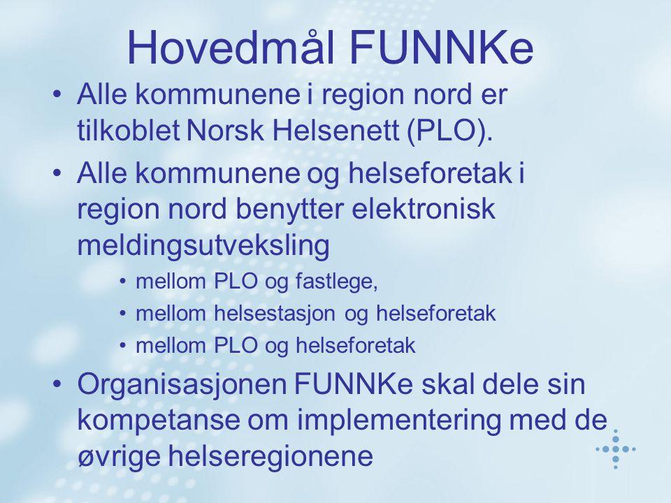 Hovedmål FUNNKe Alle kommunene i region nord er tilkoblet Norsk Helsenett (PLO). Alle kommunene og helseforetak i region nord benytter elektronisk mel