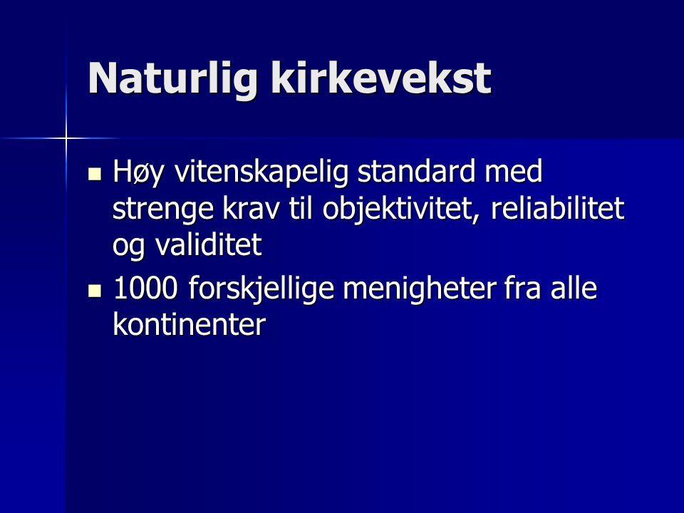Naturlig kirkevekst Høy vitenskapelig standard med strenge krav til objektivitet, reliabilitet og validitet Høy vitenskapelig standard med strenge kra