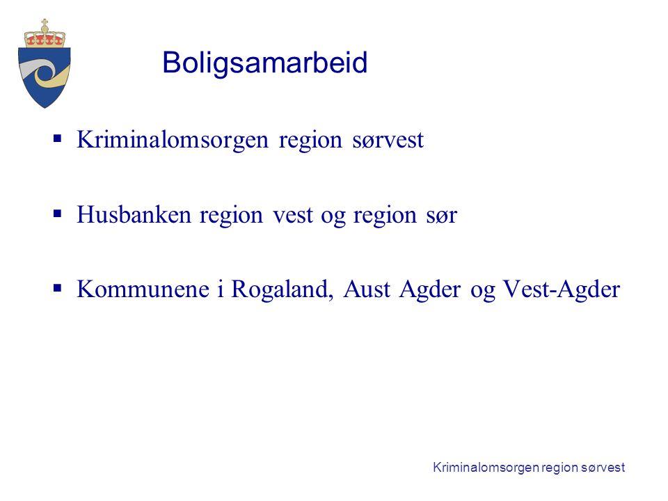 Kriminalomsorgen region sørvest Boligsamarbeid  Kriminalomsorgen region sørvest  Husbanken region vest og region sør  Kommunene i Rogaland, Aust Agder og Vest-Agder