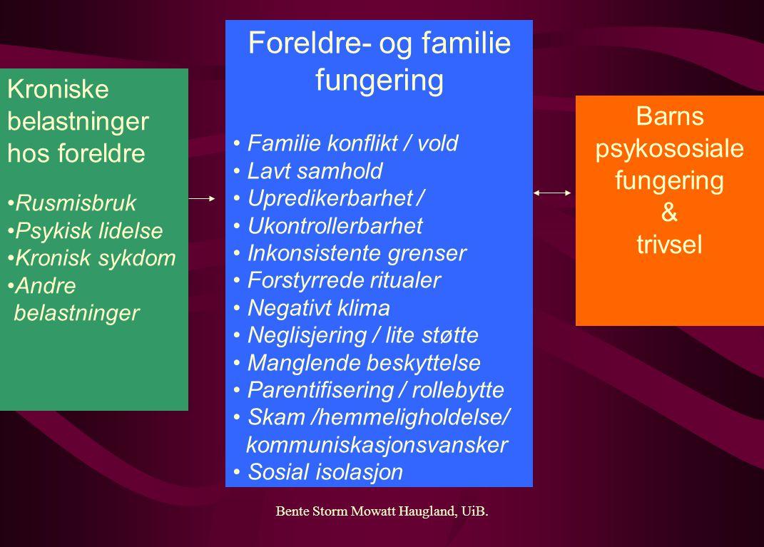 Bente Storm Mowatt Haugland, UiB. Kroniske belastninger hos foreldre Rusmisbruk Psykisk lidelse Kronisk sykdom Andre belastninger Foreldre- og familie