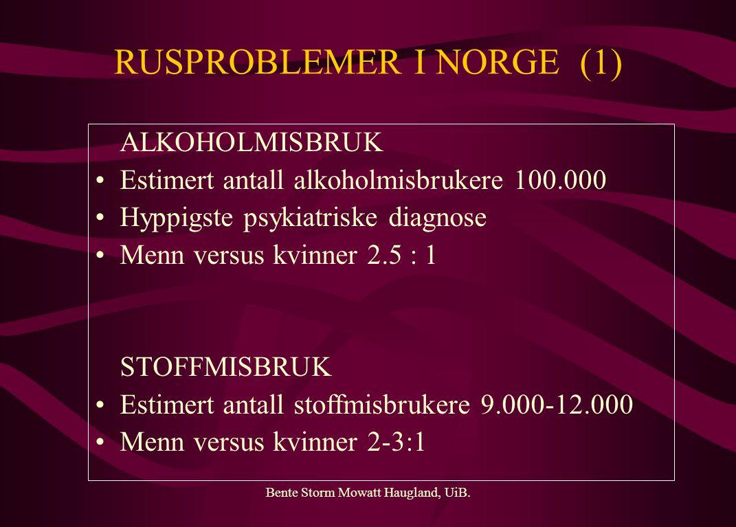 Bente Storm Mowatt Haugland, UiB. RUSPROBLEMER I NORGE (1) ALKOHOLMISBRUK Estimert antall alkoholmisbrukere 100.000 Hyppigste psykiatriske diagnose Me