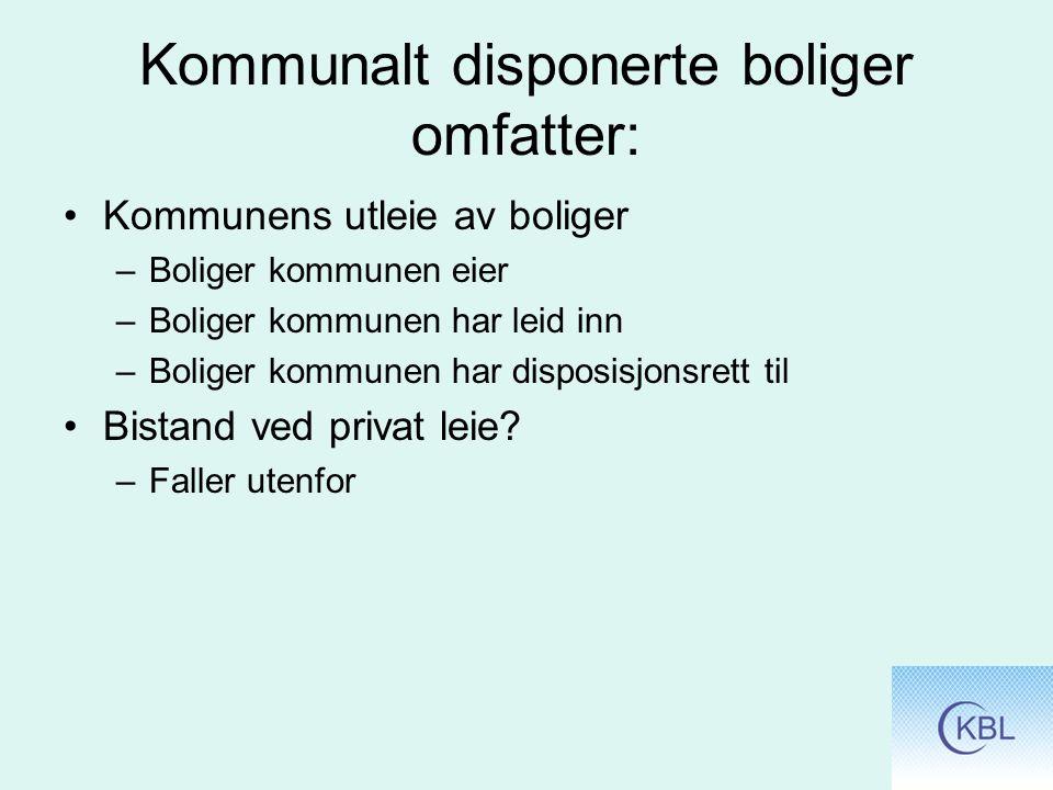 Kommunalt disponerte boliger omfatter: Kommunens utleie av boliger –Boliger kommunen eier –Boliger kommunen har leid inn –Boliger kommunen har disposisjonsrett til Bistand ved privat leie.