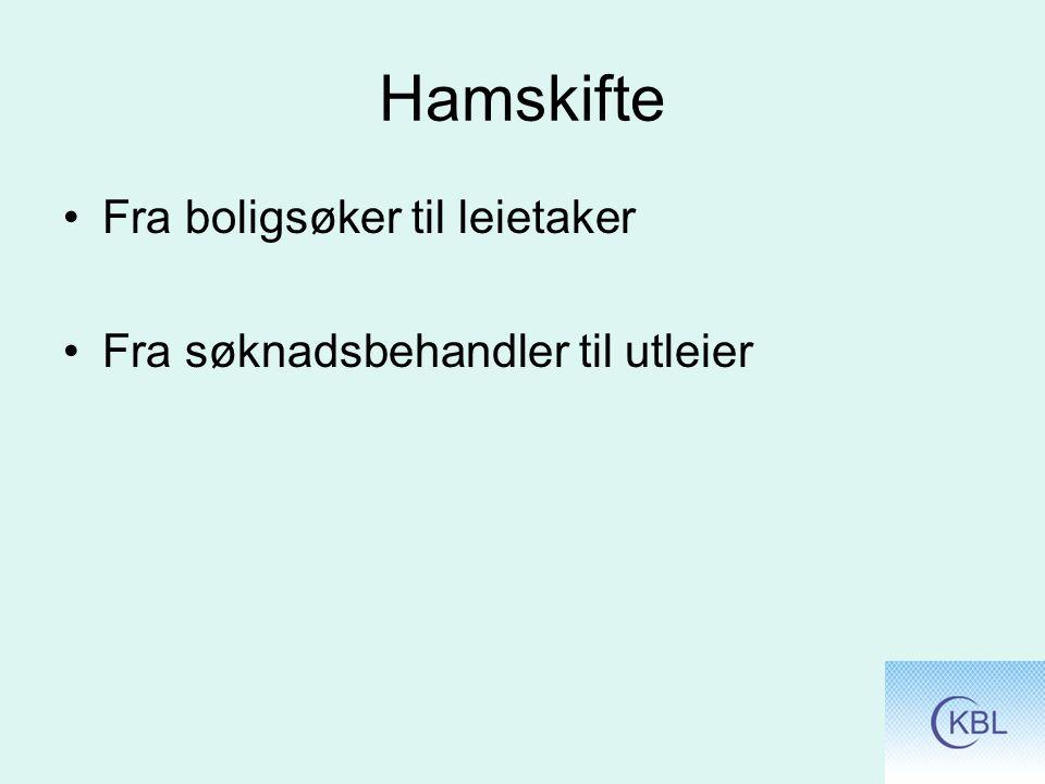 Hamskifte Fra boligsøker til leietaker Fra søknadsbehandler til utleier
