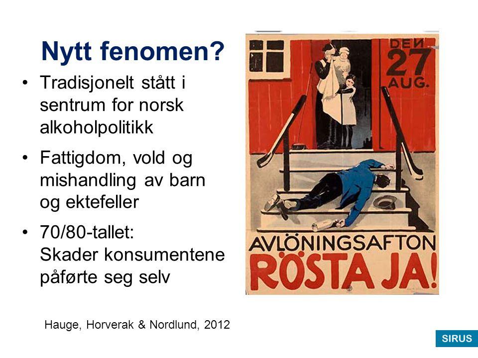Nytt fenomen? Tradisjonelt stått i sentrum for norsk alkoholpolitikk Fattigdom, vold og mishandling av barn og ektefeller 70/80-tallet: Skader konsume