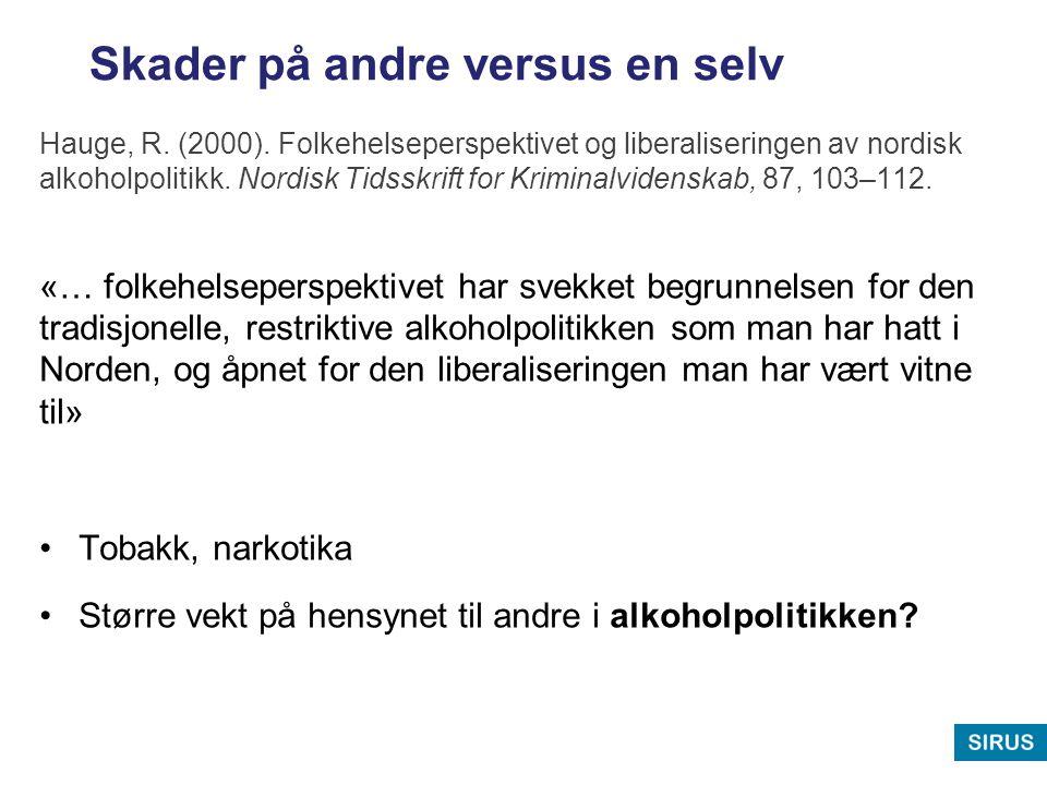 Skader på andre versus en selv Hauge, R. (2000). Folkehelseperspektivet og liberaliseringen av nordisk alkoholpolitikk. Nordisk Tidsskrift for Krimina