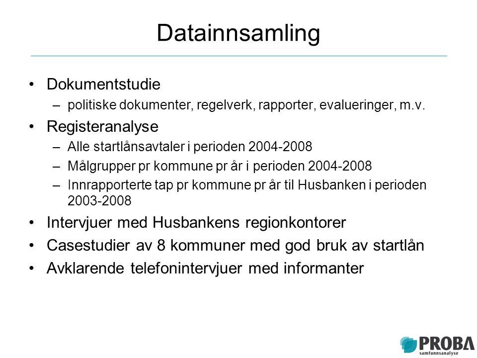 Datainnsamling Dokumentstudie –politiske dokumenter, regelverk, rapporter, evalueringer, m.v. Registeranalyse –Alle startlånsavtaler i perioden 2004-2