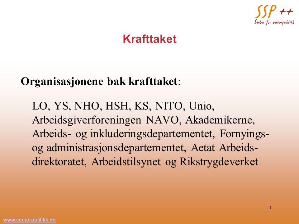 www.seniorpolitikk.no 3 Krafttaket Organisasjonene bak krafttaket: LO, YS, NHO, HSH, KS, NITO, Unio, Arbeidsgiverforeningen NAVO, Akademikerne, Arbeid
