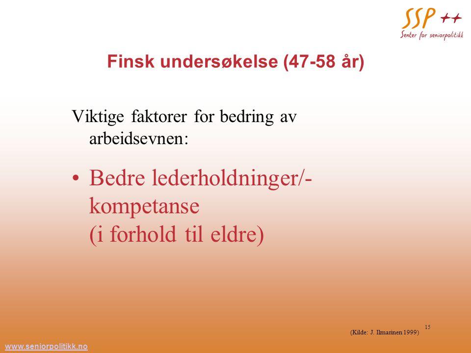 www.seniorpolitikk.no 15 Finsk undersøkelse (47-58 år) Viktige faktorer for bedring av arbeidsevnen: Bedre lederholdninger/- kompetanse (i forhold til eldre) (Kilde: J.