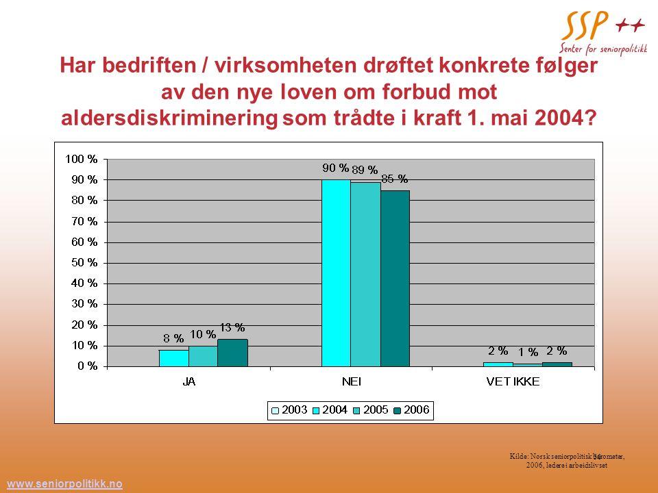 www.seniorpolitikk.no 30 Har bedriften / virksomheten drøftet konkrete følger av den nye loven om forbud mot aldersdiskriminering som trådte i kraft 1.