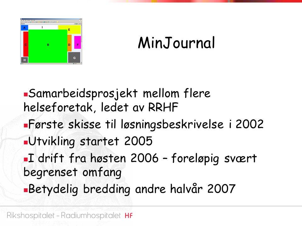 MinJournal Samarbeidsprosjekt mellom flere helseforetak, ledet av RRHF Første skisse til løsningsbeskrivelse i 2002 Utvikling startet 2005 I drift fra høsten 2006 – foreløpig svært begrenset omfang Betydelig bredding andre halvår 2007
