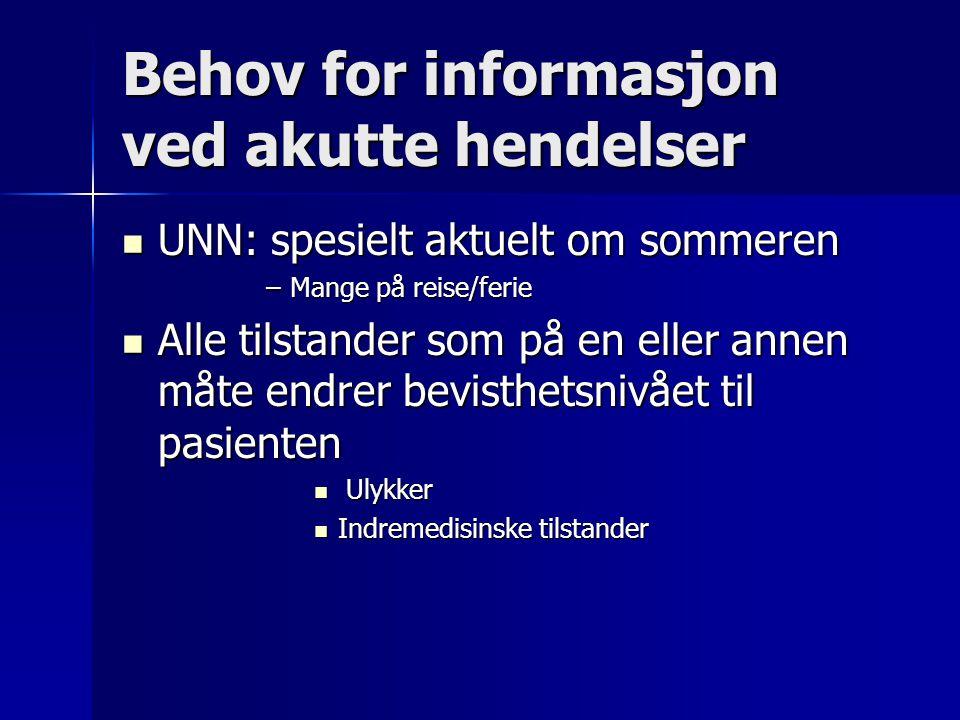 Behov for informasjon ved akutte hendelser UNN: spesielt aktuelt om sommeren UNN: spesielt aktuelt om sommeren –Mange på reise/ferie Alle tilstander s