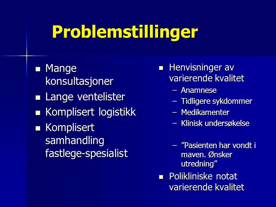 Problemstillinger Mange konsultasjoner Mange konsultasjoner Lange ventelister Lange ventelister Komplisert logistikk Komplisert logistikk Komplisert s