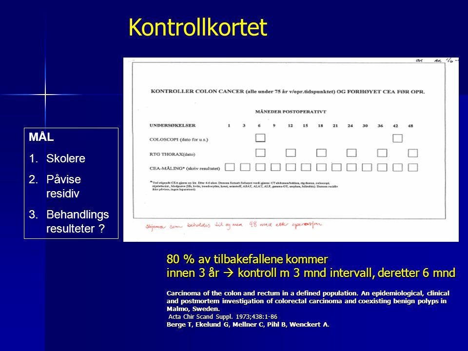 Etterkontroll ved cancer coli Pasient 5 år med etterkontroller Kirurgisk poliklinikk X16 Blodprøver CEAX16 Røntgenundersøkelser X8 Fastlege X.
