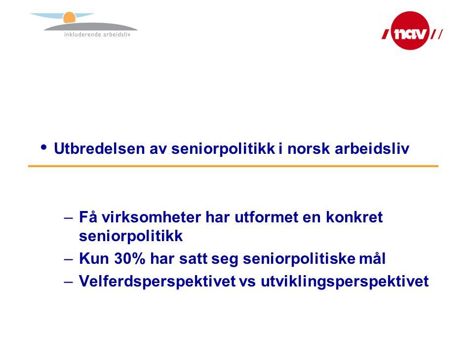  Utbredelsen av seniorpolitikk i norsk arbeidsliv –Få virksomheter har utformet en konkret seniorpolitikk –Kun 30% har satt seg seniorpolitiske mål –Velferdsperspektivet vs utviklingsperspektivet