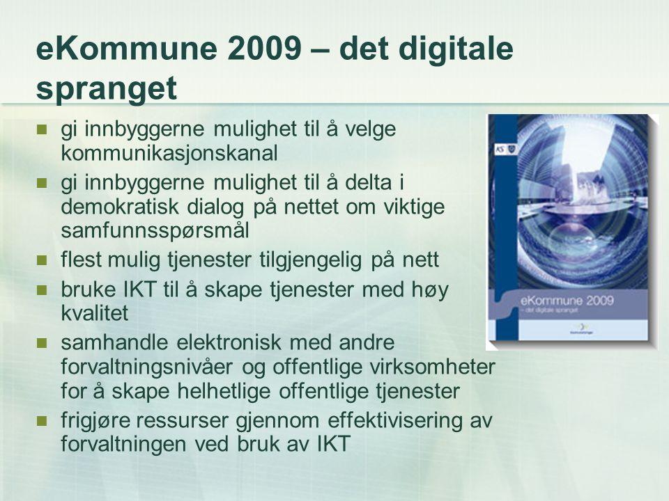 eNorge 2009 – det digitale spranget Regjeringens IT-politikk i årene fremover.