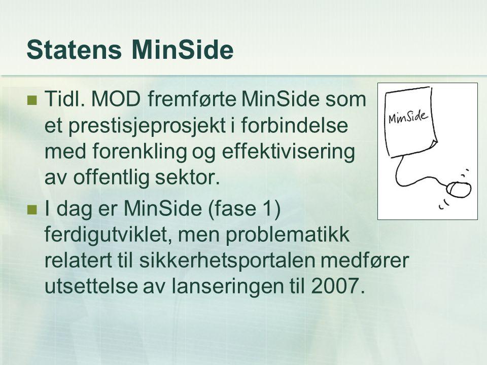 Statens MinSide Innsyn i personlig informasjon fra flere offentlige registre.