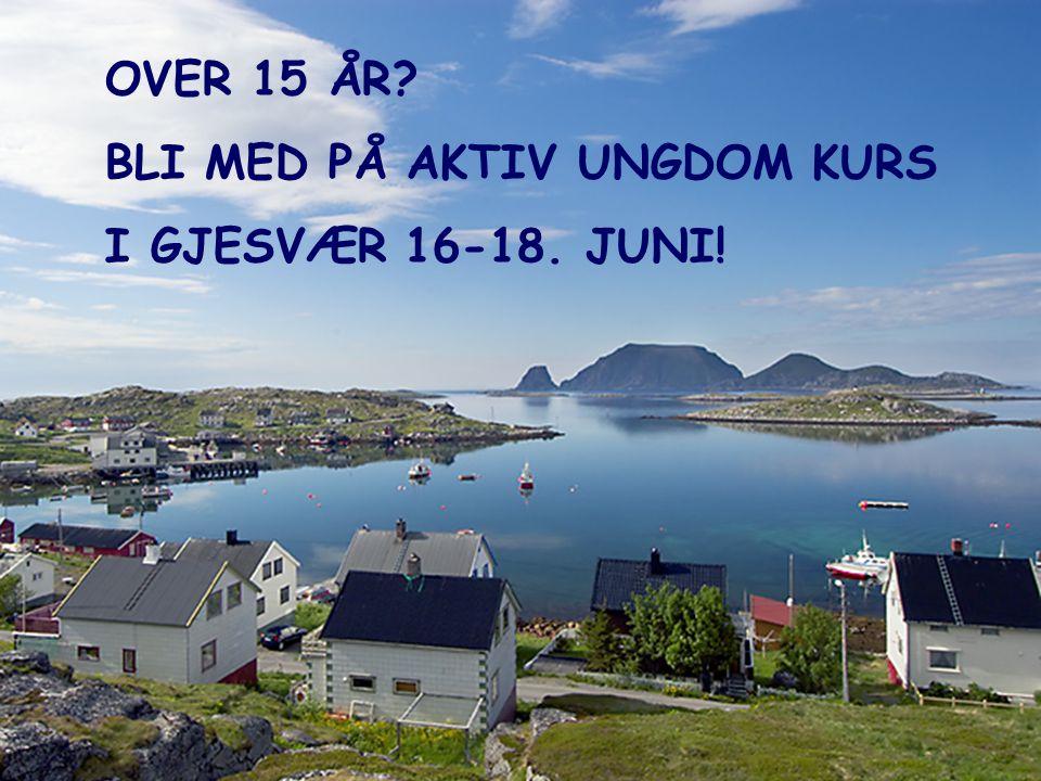 OVER 15 ÅR BLI MED PÅ AKTIV UNGDOM KURS I GJESVÆR 16-18. JUNI!