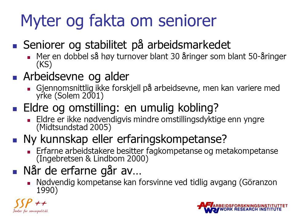 Myter og fakta om seniorer Seniorer og stabilitet på arbeidsmarkedet Mer en dobbel så høy turnover blant 30 åringer som blant 50-åringer (KS) Arbeidse