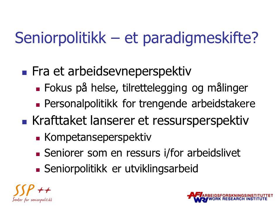 Seniorpolitikk – et paradigmeskifte? Fra et arbeidsevneperspektiv Fokus på helse, tilrettelegging og målinger Personalpolitikk for trengende arbeidsta