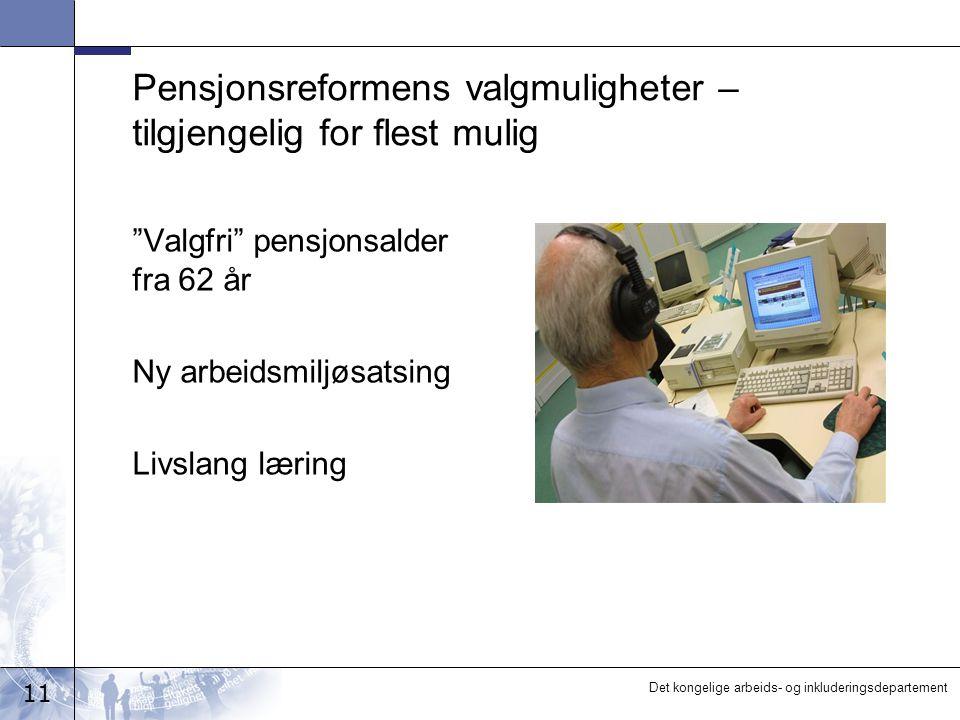 11 Det kongelige arbeids- og inkluderingsdepartement Pensjonsreformens valgmuligheter – tilgjengelig for flest mulig Valgfri pensjonsalder fra 62 år Ny arbeidsmiljøsatsing Livslang læring
