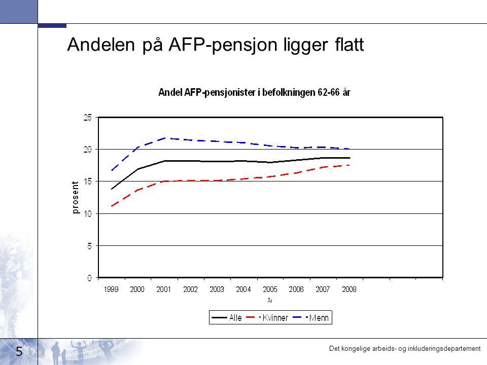 5 Det kongelige arbeids- og inkluderingsdepartement Andelen på AFP-pensjon ligger flatt