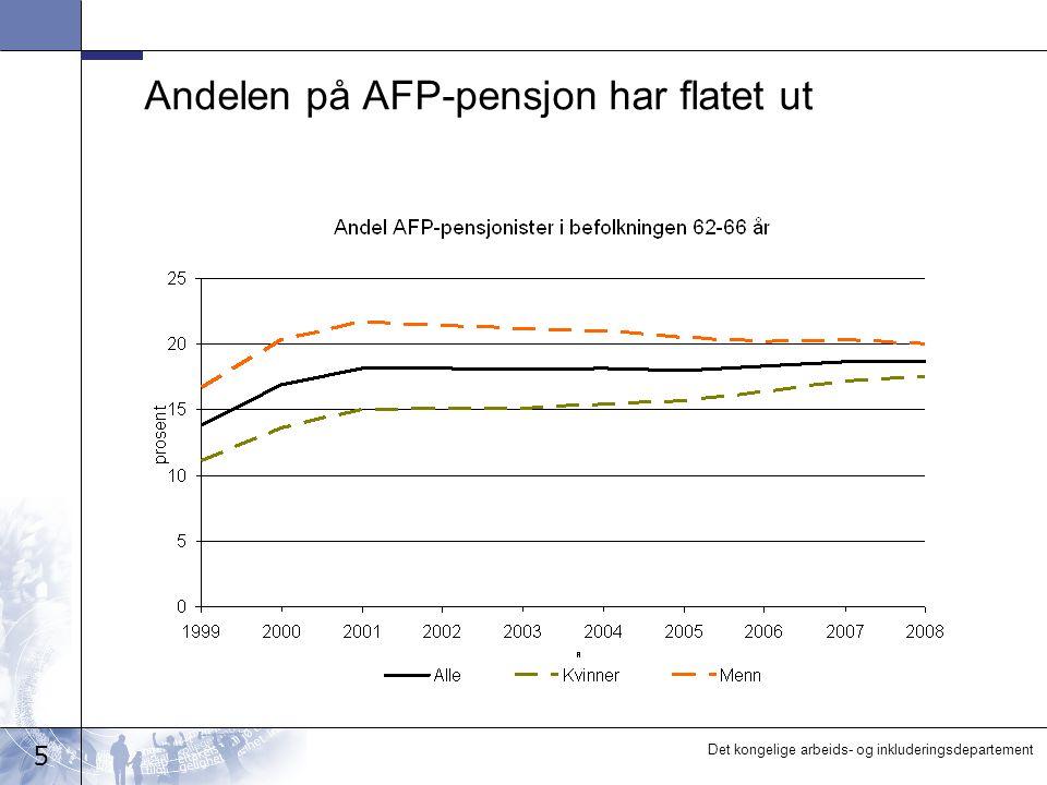 5 Det kongelige arbeids- og inkluderingsdepartement Andelen på AFP-pensjon har flatet ut