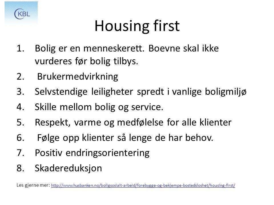 Housing first 1.Bolig er en menneskerett. Boevne skal ikke vurderes før bolig tilbys. 2. Brukermedvirkning 3.Selvstendige leiligheter spredt i vanlige