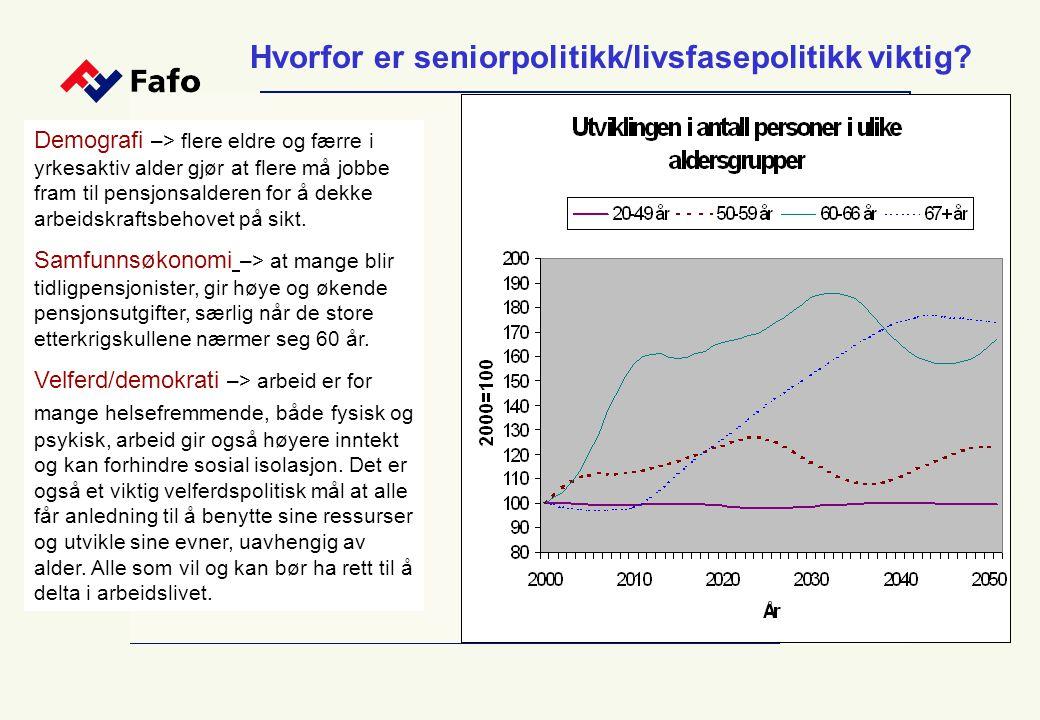 Hvorfor er seniorpolitikk/livsfasepolitikk viktig? Demografi –> flere eldre og færre i yrkesaktiv alder gjør at flere må jobbe fram til pensjonsaldere