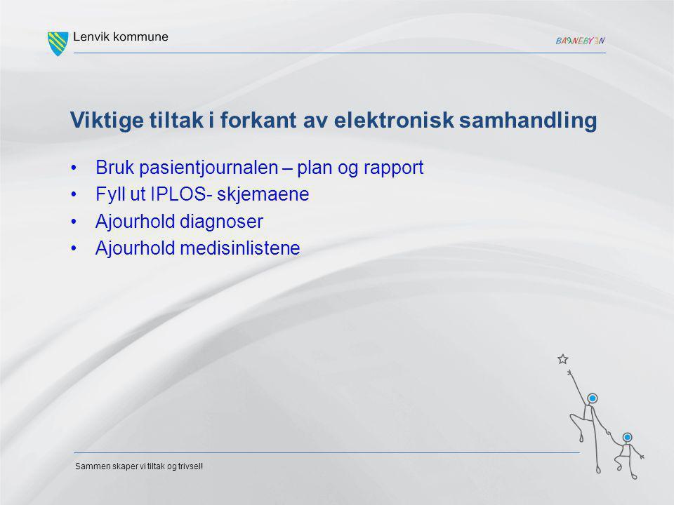 Sammen skaper vi tiltak og trivsel! Viktige tiltak i forkant av elektronisk samhandling Bruk pasientjournalen – plan og rapport Fyll ut IPLOS- skjemae