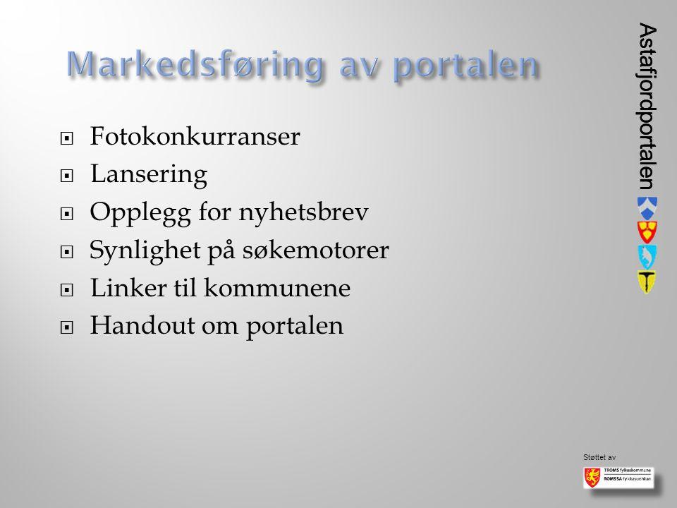 Astafjordportalen Støttet av Astafjordportalen  Fotokonkurranser  Lansering  Opplegg for nyhetsbrev  Synlighet på søkemotorer  Linker til kommunene  Handout om portalen