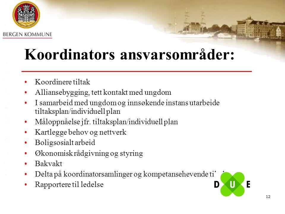 12 Koordinators ansvarsområder: Koordinere tiltak Alliansebygging, tett kontakt med ungdom I samarbeid med ungdom og innsøkende instans utarbeide tilt