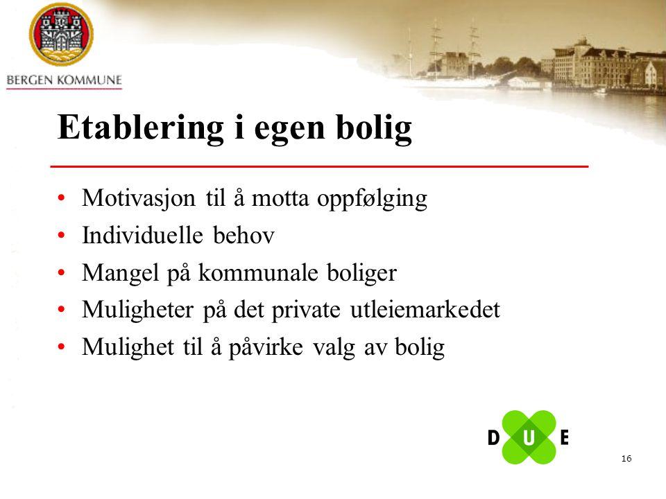16 Etablering i egen bolig Motivasjon til å motta oppfølging Individuelle behov Mangel på kommunale boliger Muligheter på det private utleiemarkedet M