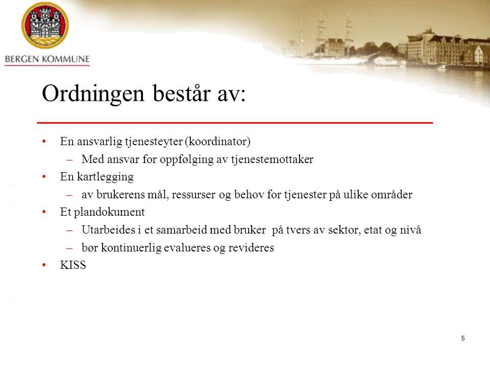 5 Ordningen består av: En ansvarlig tjenesteyter (koordinator) –Med ansvar for oppfølging av tjenestemottaker En kartlegging –av brukerens mål, ressur