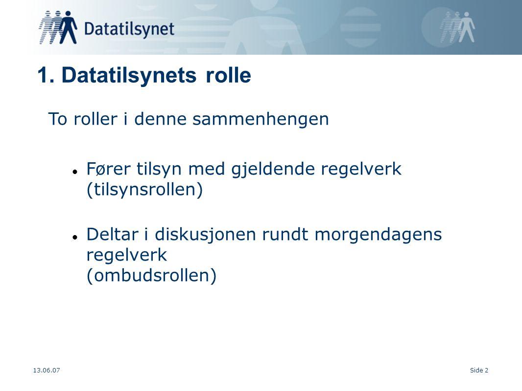 13.06.07Side 2 To roller i denne sammenhengen Fører tilsyn med gjeldende regelverk (tilsynsrollen) Deltar i diskusjonen rundt morgendagens regelverk (ombudsrollen) 1.