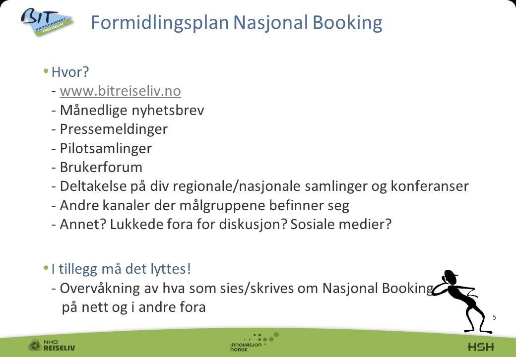 6 Innspill? Formidlingsplan BIT Reiseliv / Nasjonal Booking