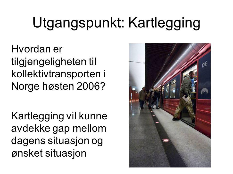 Utgangspunkt: Kartlegging Hvordan er tilgjengeligheten til kollektivtransporten i Norge høsten 2006.