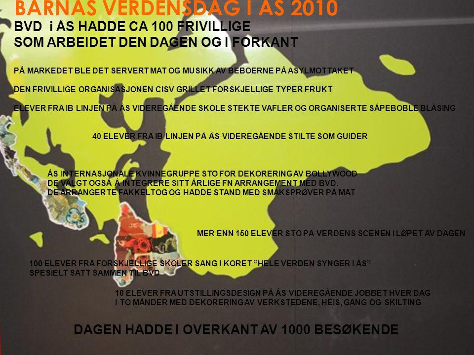 BARNAS VERDENSDAG I ÅS 2010 BVD i ÅS HADDE CA 100 FRIVILLIGE SOM ARBEIDET DEN DAGEN OG I FORKANT PÅ MARKEDET BLE DET SERVERT MAT OG MUSIKK AV BEBOERNE PÅ ASYLMOTTAKET DEN FRIVILLIGE ORGANISASJONEN CISV GRILLET FORSKJELLIGE TYPER FRUKT ELEVER FRA IB LINJEN PÅ ÅS VIDEREGÅENDE SKOLE STEKTE VAFLER OG ORGANISERTE SÅPEBOBLE BLÅSING 40 ELEVER FRA IB LINJEN PÅ ÅS VIDEREGÅENDE STILTE SOM GUIDER ÅS INTERNASJONALE KVINNEGRUPPE STO FOR DEKORERING AV BOLLYWOOD DE VALGT OGSÅ Å INTEGRERE SITT ÅRLIGE FN ARRANGEMENT MED BVD.