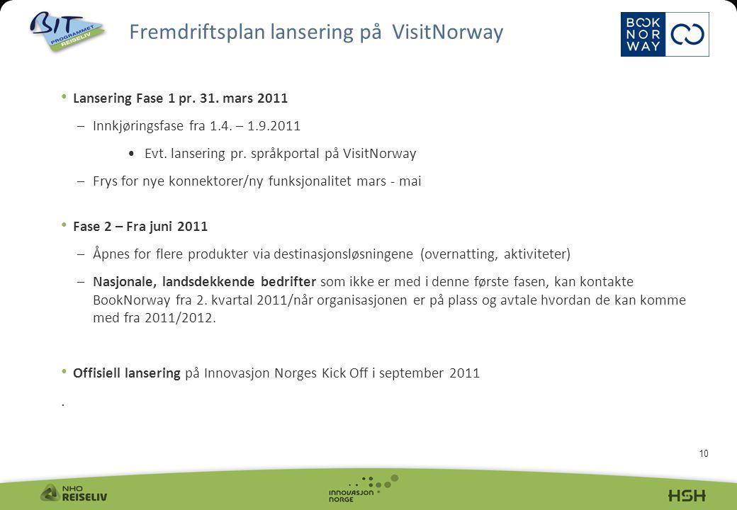 10 Lansering Fase 1 pr. 31. mars 2011 –Innkjøringsfase fra 1.4.