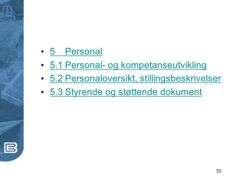 35 5Personal 5Personal 5.1Personal- og kompetanseutvikling 5.1Personal- og kompetanseutvikling 5.2Personaloversikt, stillingsbeskrivelser 5.2Personalo