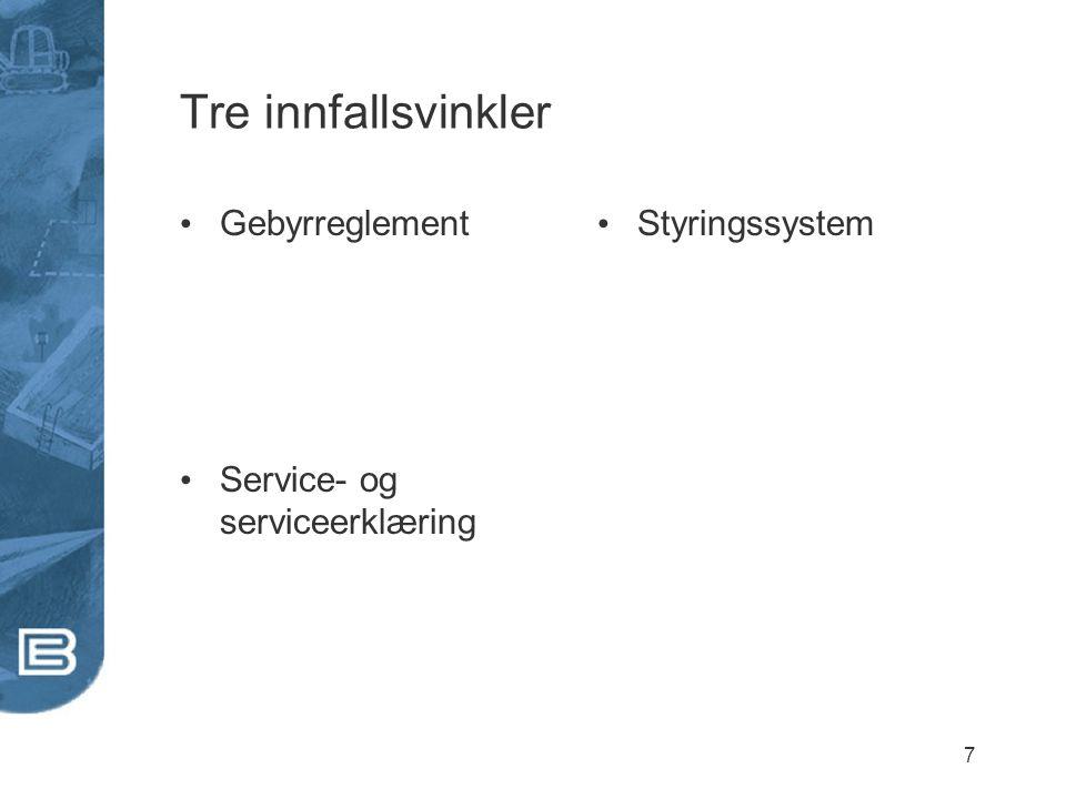 7 Tre innfallsvinkler Gebyrreglement Service- og serviceerklæring Styringssystem