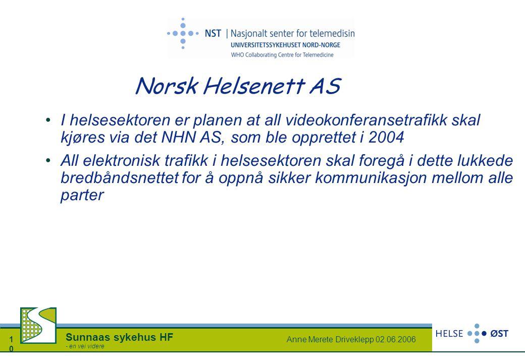 Anne Merete Driveklepp 02.06.20061010 Sunnaas sykehus HF - en vei videre Norsk Helsenett AS I helsesektoren er planen at all videokonferansetrafikk sk