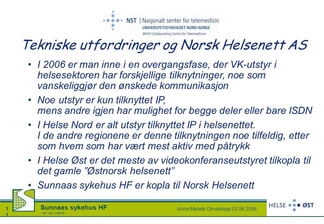 Anne Merete Driveklepp 02.06.20061 Sunnaas sykehus HF - en vei videre Tekniske utfordringer og Norsk Helsenett AS I 2006 er man inne i en overgangsfas