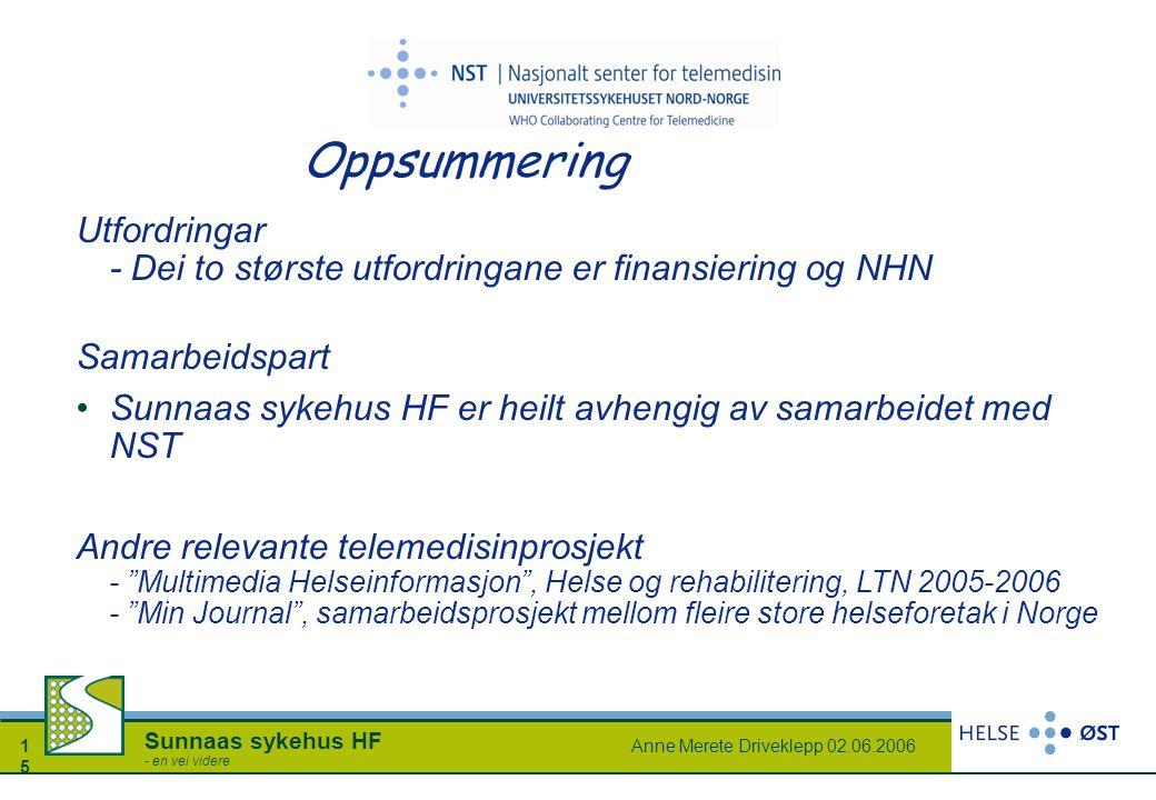 Anne Merete Driveklepp 02.06.20061515 Sunnaas sykehus HF - en vei videre Oppsummering Utfordringar - Dei to største utfordringane er finansiering og N